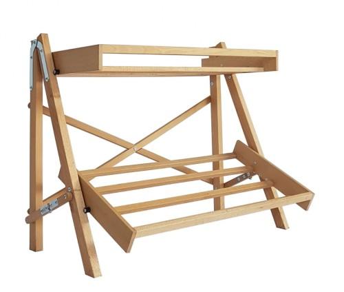 Regał Wystawowy Składany Drewniany Bukowy 2 Półki