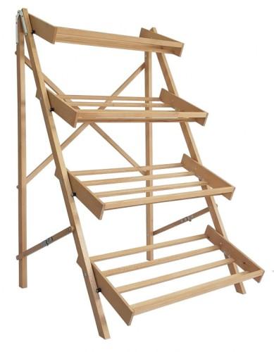 Regał Wystawowy Składany Drewniany Bukowy 4 Półki
